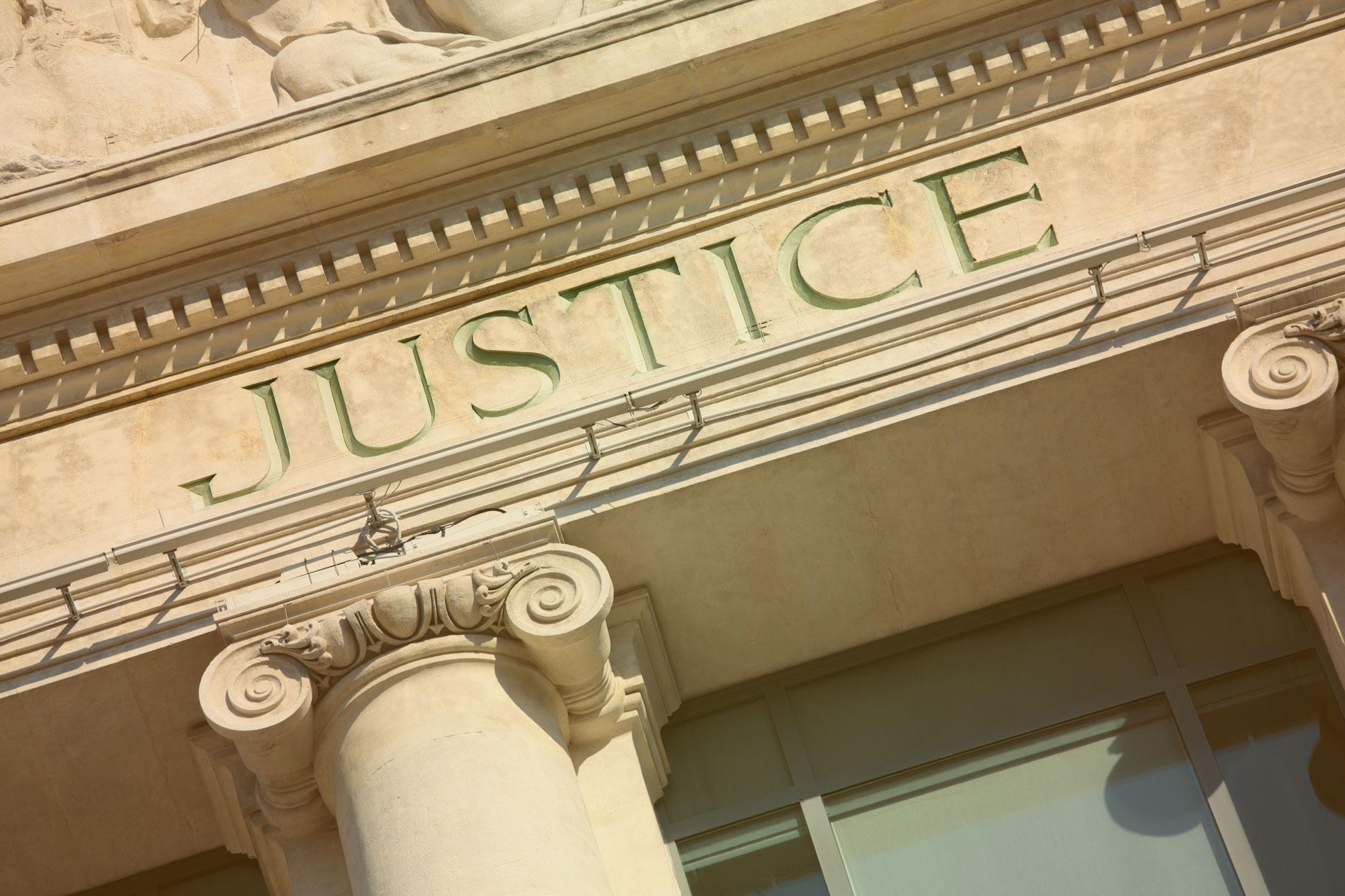 Close up du Palais de justice